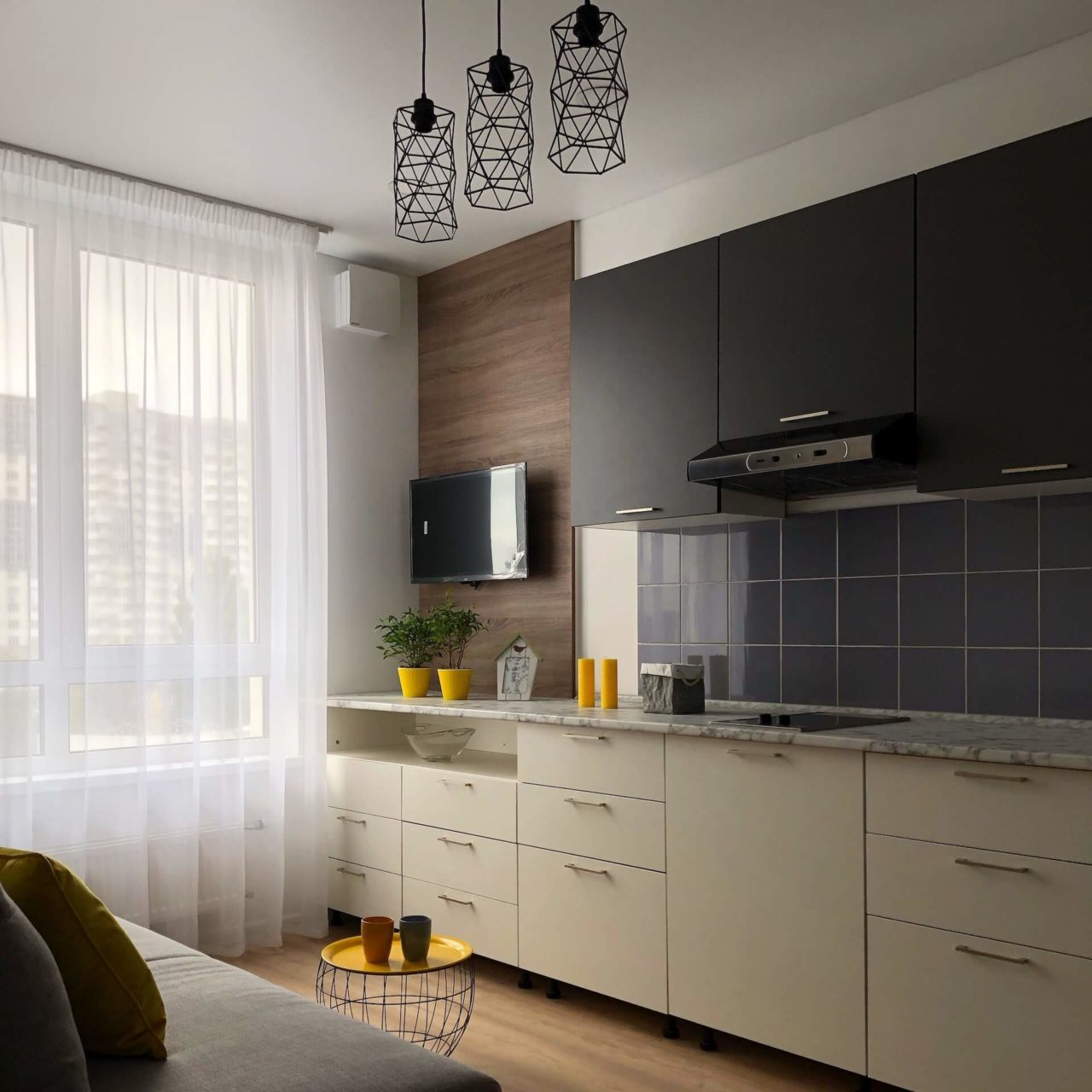 Дизайн проект квартира студия с одной спальней, бежевая ЖК ФайнаТаун, Киев | фото 1