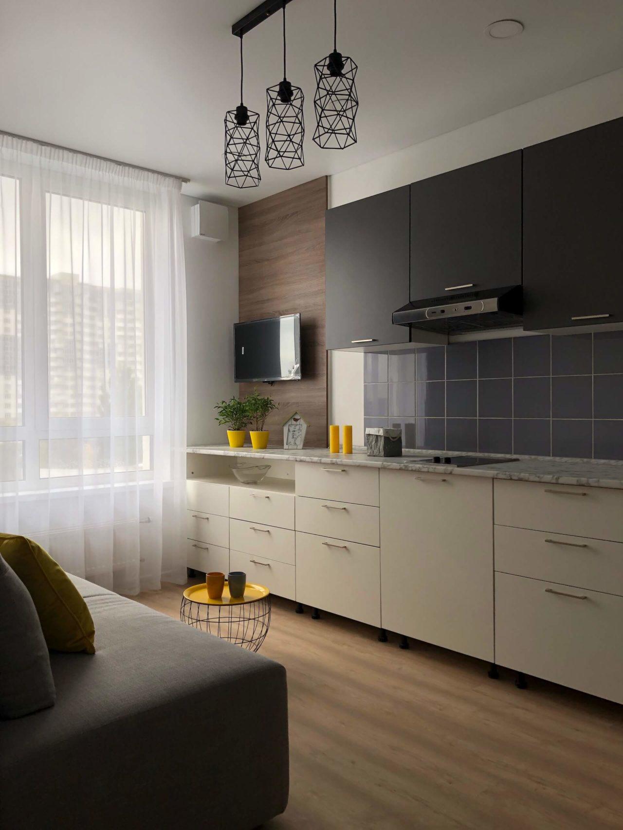 Дизайн проект квартира студия с одной спальней, бежевая ЖК ФайнаТаун, Киев | фото 2