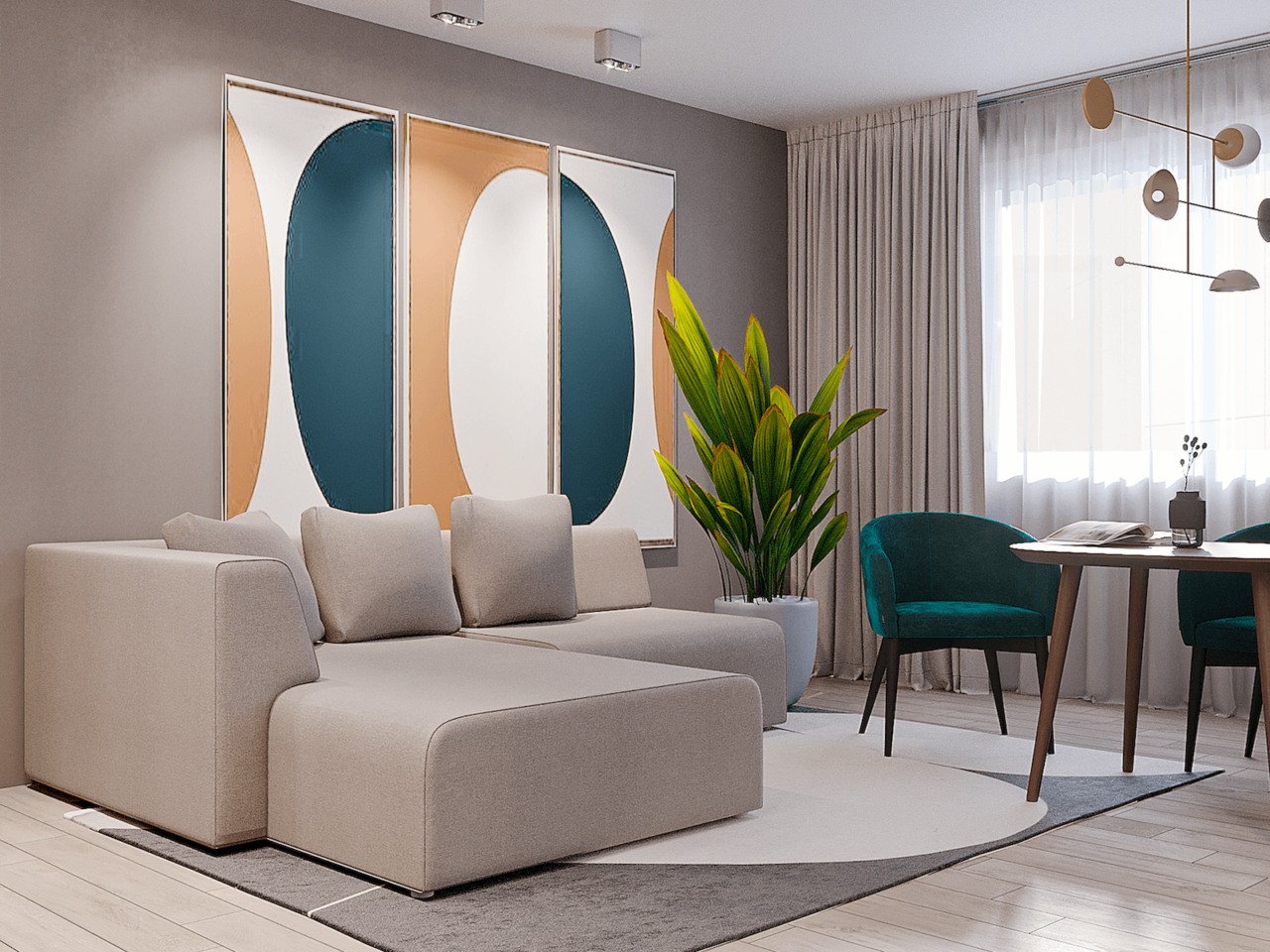 Дизайн проект двухкомнатной квартиры, бирюзовій акцент, Киев | фото 13