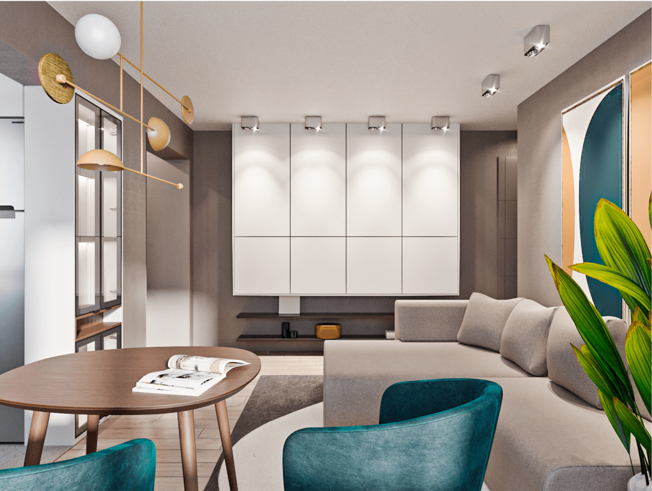 Дизайн проект двухкомнатной квартиры, бирюзовій акцент, Киев | фото 15