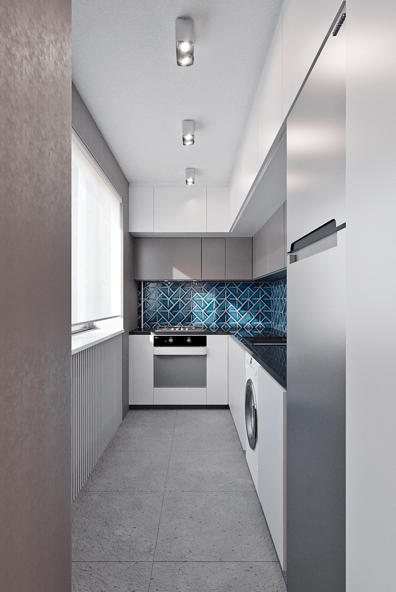 Дизайн проект двухкомнатной квартиры, бирюзовій акцент, Киев | фото 16