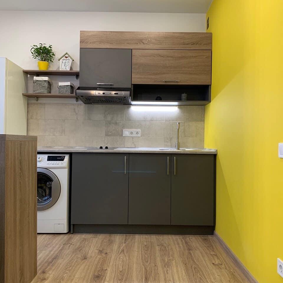 Дизайн проект квартира студия с одной спальней, желтая ЖК ФайнаТаун, Киев | фото 1