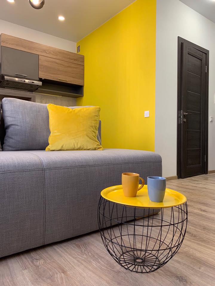 Дизайн проект квартира студия с одной спальней, желтая ЖК ФайнаТаун, Киев | фото 2