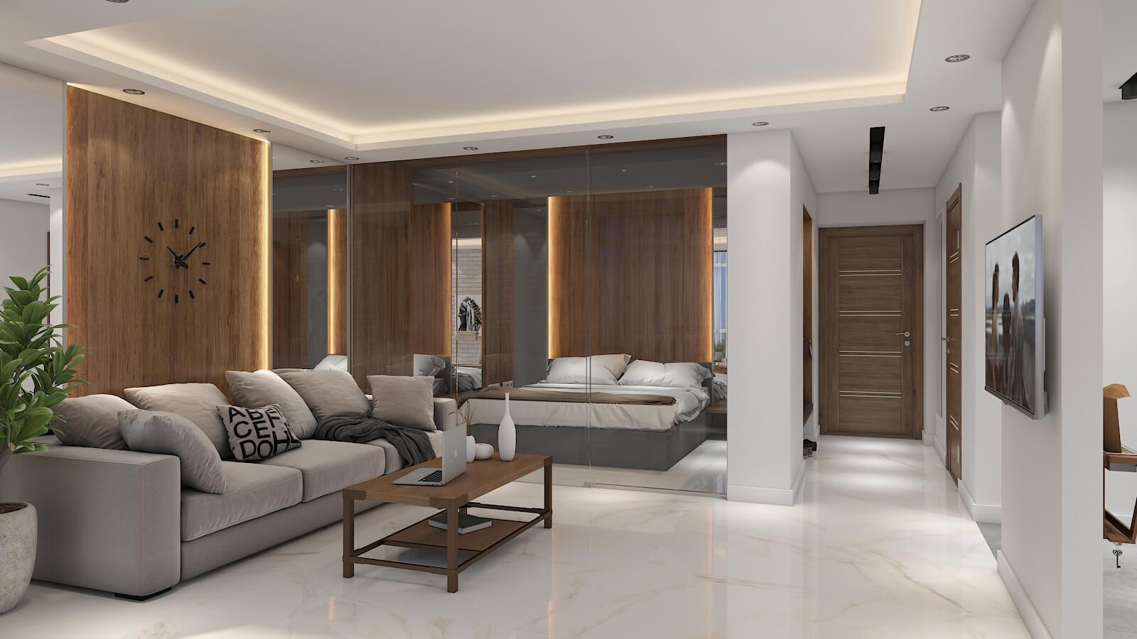 Дизайн проект квартира студия, спаьня со стеклянной перегородкой, Киев | фото 2