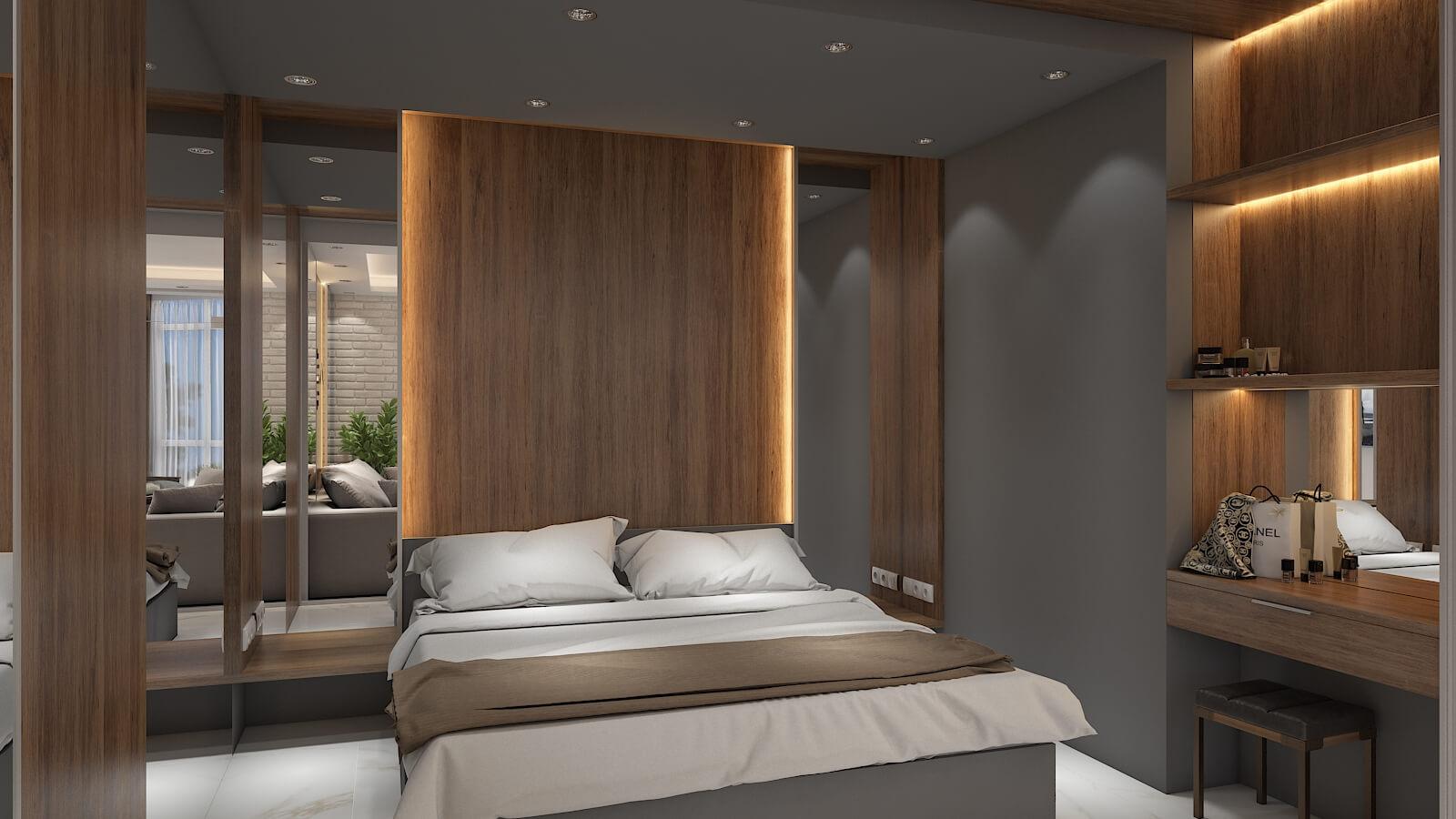 Дизайн проект квартира студия, спаьня со стеклянной перегородкой, Киев | фото 5