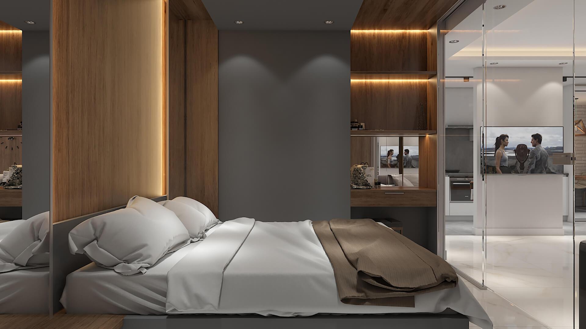 Дизайн проект квартира студия, спаьня со стеклянной перегородкой, Киев | фото 6