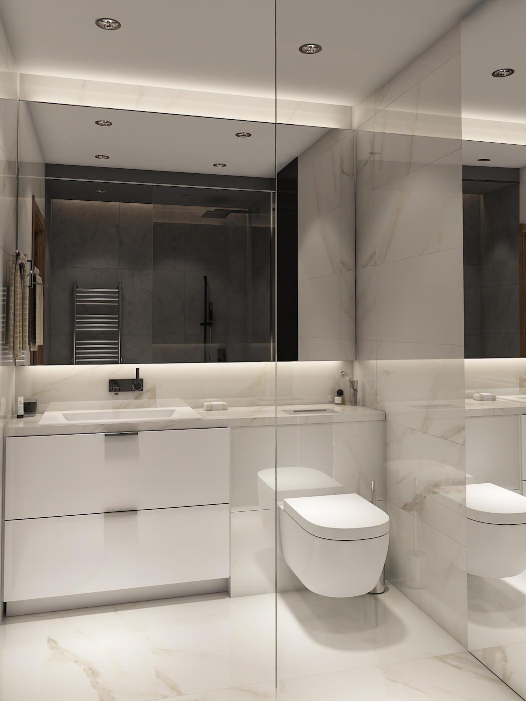Дизайн проект квартира студия, спаьня со стеклянной перегородкой, Киев | фото 7